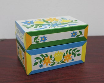 Vintage Metal Floral Retro Tin or Metal Recipe Box by Syndicate - Yellow and Blue Colors