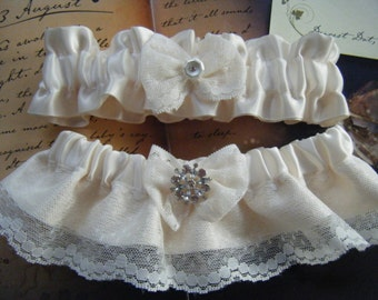 Ivory satin and Lace Garter Set