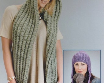 Womens Knitting Pattern W5583 Ladies Scarf with Hood, Mittens and Earflap Hat Knitting Pattern Super Chunky (Super Bulky) Wendy