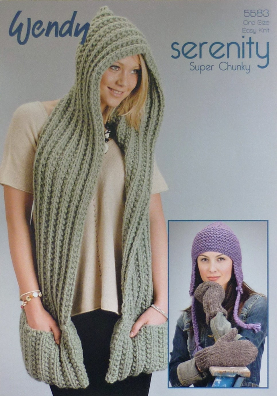 Knitting Pattern For Ladies Hood : Womens Knitting Pattern W5583 Ladies Scarf with Hood ...