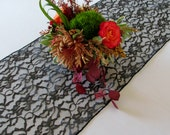 Lace table runner - BLACK - SELECT A SIZE