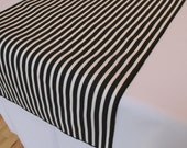 "Black and white Stripe table runner (THIN STRIPES)  - black edge - 13"" x 72"""