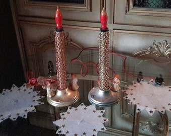 40'S CHRISTMAS DECOR Electric Candle Pair Angels Gold Tone Plastic Holiday Decoration