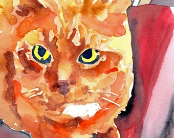 Ginger Perspective -Fun watercolor of an Orange Tabby