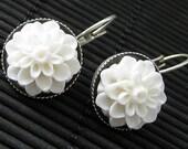 White Dahlia Flower Earrings. French Hook Earrings. White Flower Earrings. Lever Back Earrings. Handmade Jewelry.