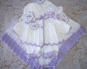 Crochet Baby Girl Lavender Sweater Set Layette with Leggings and Booties or FeetyPants and Flower Blanket Baby Shower Gift Take Home Outfit