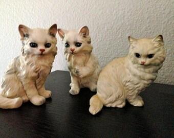 3 ceramic Lefton  Cats ceramic figurine kittens white