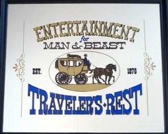 Vintage Traveler's Rest Framed Mirror Sign 1970s