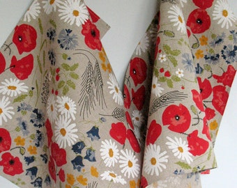 Linen Cotton Dish Towels Daisies Poppies Cornflowers Flowers Tea Towels