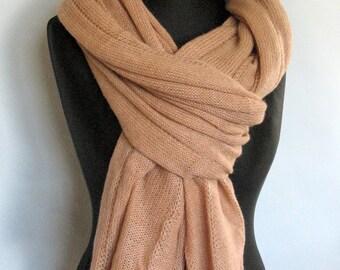 Scarf Jumbo Beige Wool Mohair Acrylic