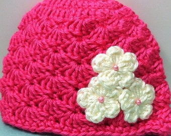 Hot pink Emma hat/ ivory flowers / 0-12 month