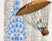 FLYING in NYC A3 original Giclee Print mixed media wall decor