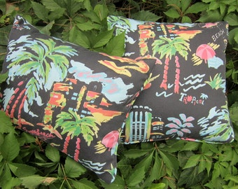 Set of TwoTropical Chalkboard Pillowcovers with Hidden zippers