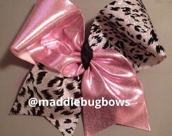 Light Pink & Cheetah Cheer Bow