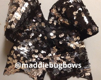 Black & Silver Sequin Cheer Bow