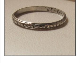 Antique Platinum Art Deco Engraved  Wedding Band inscribed 3-13-1932