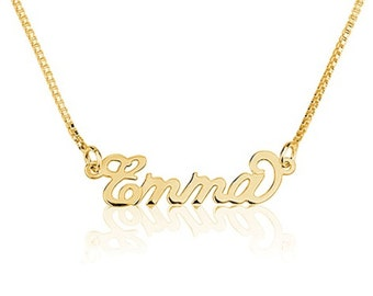 Tiny Gold Name Necklace Personalized Necklace 18k Gold over 925 Sterling Silver - Carrie Necklace