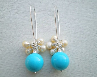 Turquoise and Pearl Cluster Earrings/Beaded earrings/Pearl Earrings/Turquoise Earrings/Cluster Earrings/Gift For Her