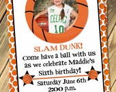 Basketball Birthday Party Invitation With Photo Print Your Own
