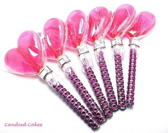 12 ELECTRIC PINK HEART Lollipops -Faux Rhinestone Stick, Wedding Bridal Lollipop Favors, Variety of Colors and Flavors