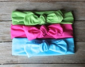 Organic cotton Knot headband- baby, CHILD and adult head wrap- set of THREE