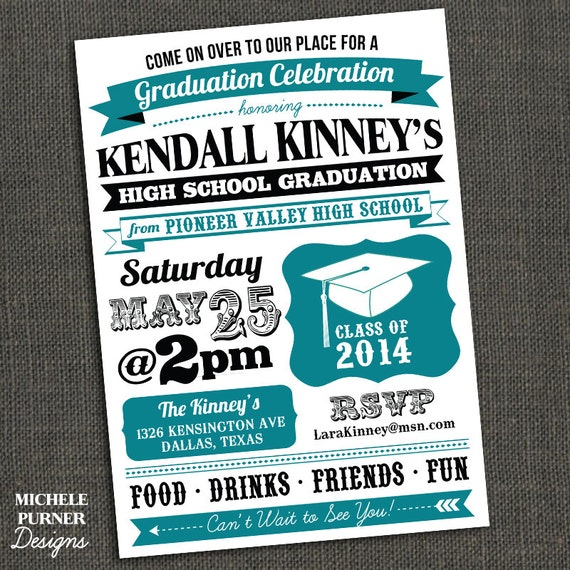 High School or College Graduation Party Invitation - PRINTABLE