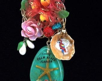 Souvenir Palm Beach necklace wearable art refashioned vintage jewelry Bakelite banana button Czech glass fruit
