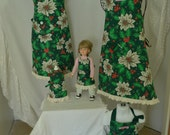 Child's Christmas Holiday Child Poinsettia Holly Berries Dark Green White Reversible Handmade Apron
