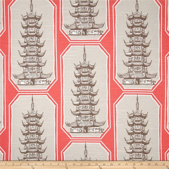 "Two 96"" x 50"" Custom Curtain Panels - Pagoda Shen - Coral or Snowy"