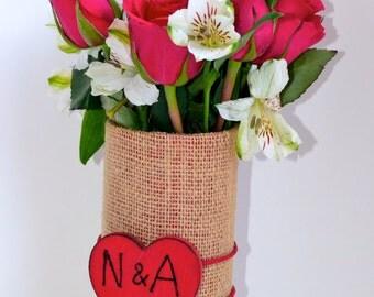 Burlap Valentines Vase personalize with initials
