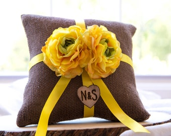 Yellow ranunculus flower brown burlap personalized ring bearer pillow  shabby chic with engraved initials... many more colors available