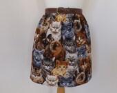 Handmade cat skirt high waisted waist kittens fabric