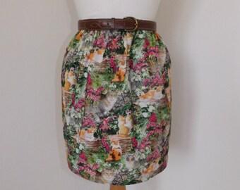 Handmade skirt flower garden cats kitten floral summer high waisted
