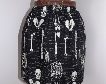 Handmade skull skeleton black high waisted skirt the human body anatomy bones glow in the dark