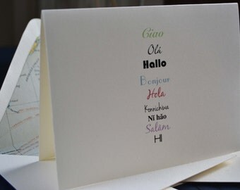 Global Hello Note Card Set of 8 with Antique World Map Lined Envelopes - Wanderlust Collection