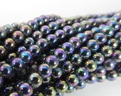 200 Vintage 3mm Iridescent Purple and Blue Seed Beads Bd1362