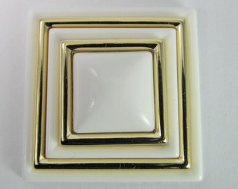2 Vintage 42mm Glossy White and Gold Square Art Deco Lucite Cabochon Cb72