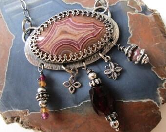 Laguna Agate Sterling Silver Necklace with Garnet, Rhodolite Garnet, Rhodonite and Citrine Dangles Jewelry