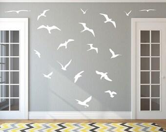 Seagulls Decals   Vinyl Wall Decals   Beach Decals   Nautical Decals   Bird Decals   Beach House Decor   18 Seagulls 22426