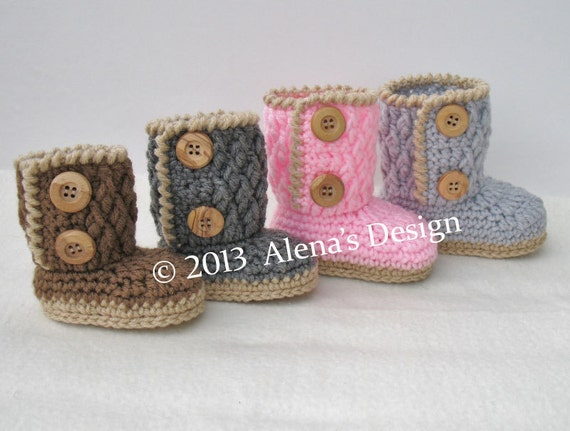 Crochet Pattern 091  - Two-Button Baby Booties 0-3, 3-6, 6-9, 9-12 months Baby Booties Baby Boy Baby Girl Winter Slippers Crochet Pattern