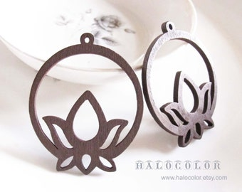 Painting Series - 40x48mm Pretty Coffee Brown Round Lotus  Wooden Charm/Pendant MH233 02