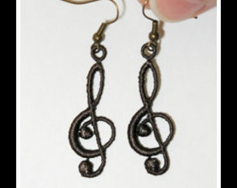 Love of Music Earrings - Machine Embroidered Earrings -
