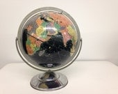 "Vintage 12"" Starlight World Globe with Black Oceans and Mid Century Modern Chrome Base"