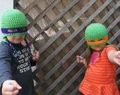 Teenage Mutant Ninja Turtle Hats, Child size crocheted hats with ear flaps and braids, ninja mask