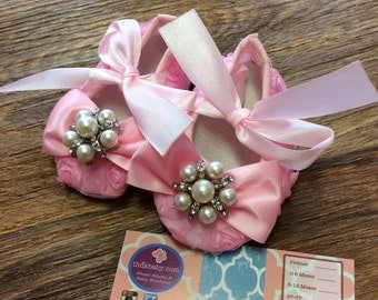 Over The Top Ballerina Light Pink Rosette Crib Shoes Ready To Ship