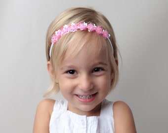 Iridescent Pink Flower Sequin Halo Headband, photo prop, baby headband, girl's headband, photographer, by Lil Miss Sweet Pea