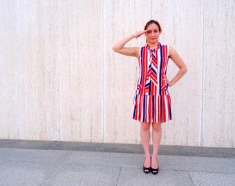 Vintage sailor dress drop waist dress striped dress red white blue dress sailing nautical