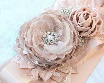 Blush Champagne Wedding Ribbon Sash/ Handmade Bridal Sash