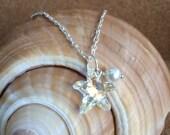 Swarovski STARFISH Pendant w/ Freshwater Pearl - Silver Necklace - Swarovski AB Crystal - Beach Wedding - Bridesmaid - Choose Length - USA