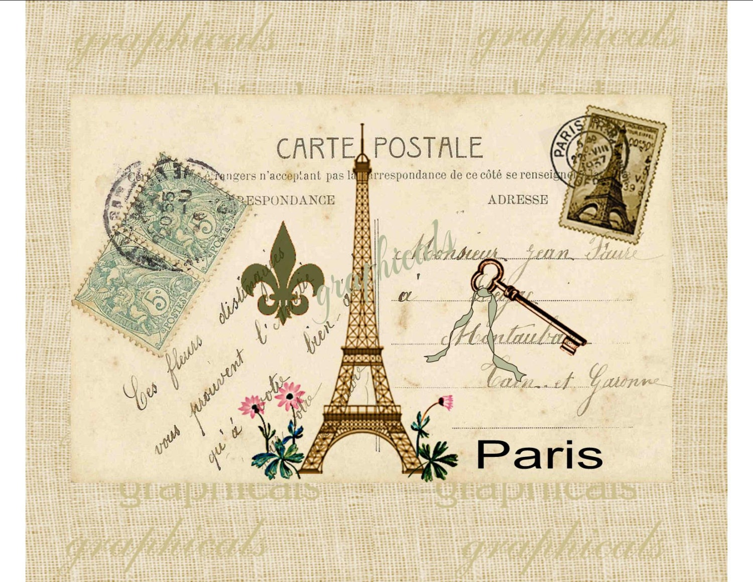 paris digital download image carte postale eiffel by graphicals. Black Bedroom Furniture Sets. Home Design Ideas